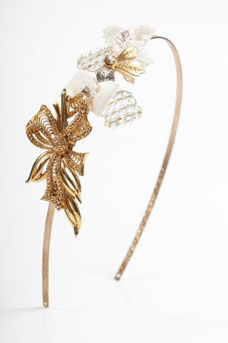 Gold Vintage  Wedding Side Headband