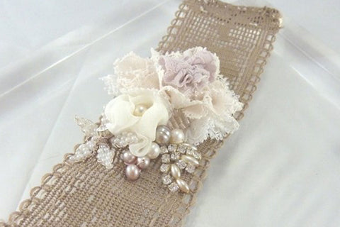 Nude Floral Wedding Bracelet