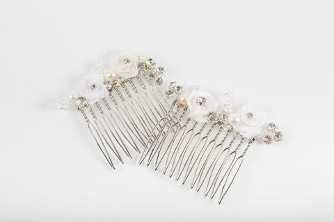 Cream Ivory White Floral Bridal Comb