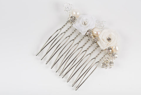 Cream Ivory White Floral Wedding Comb