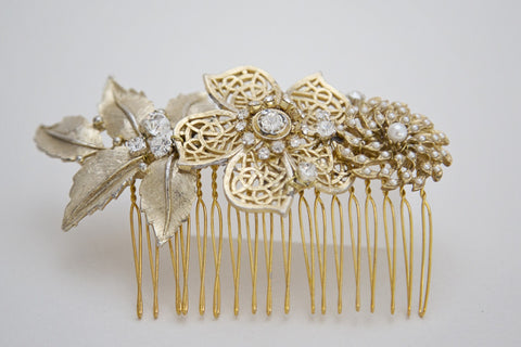 Gold Floral Leaf Wedding Comb