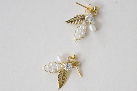 Leaf - Earrings - Gold/Cream