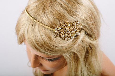 Vintage Golden Floral Bridal Headband