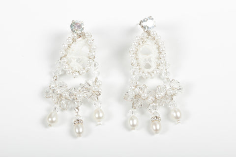 Lace - Earrings - Cream