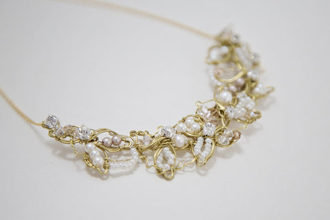 Gold Blush Nude Pink Floral Bridal Necklace
