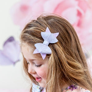 Pastel Purple Embossed Rosey bow