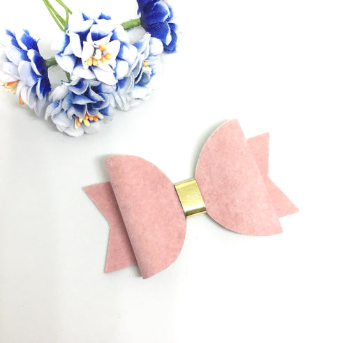 Everyday Faux Suede Pale Pink Bow