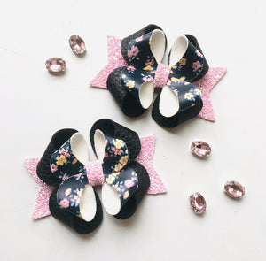 Black Floral Posey Bow