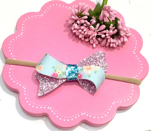 Sophia Blue Floral bow