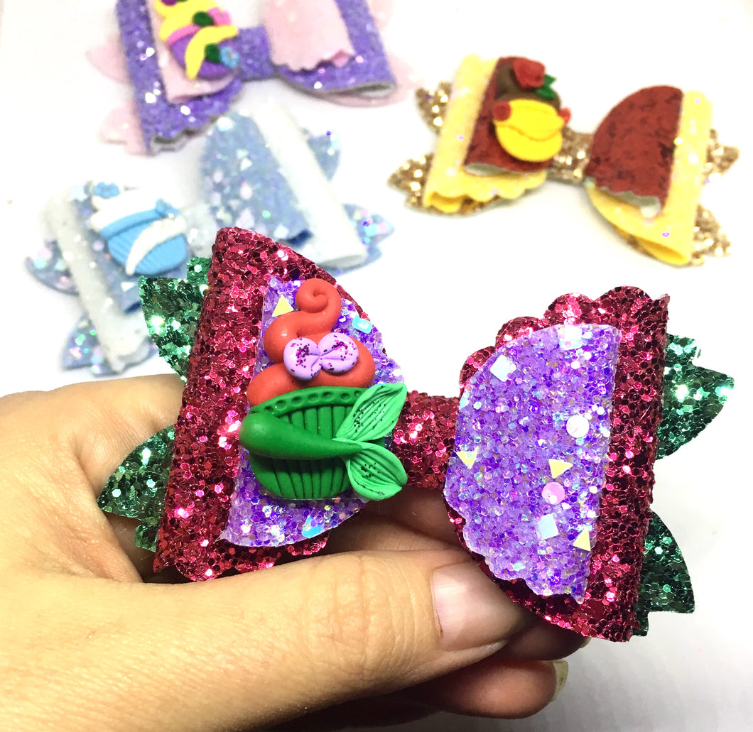 Clay Princess Ariel Mermaid Cupcake Bow
