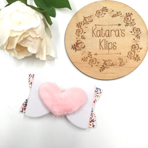 White Fluffy Heart Pink Bow