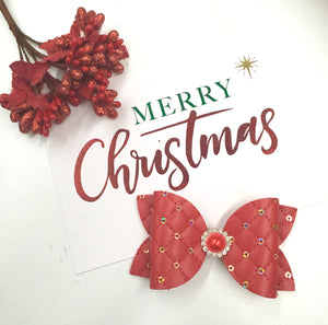 Christmas Red Sequin Rhinestone bow