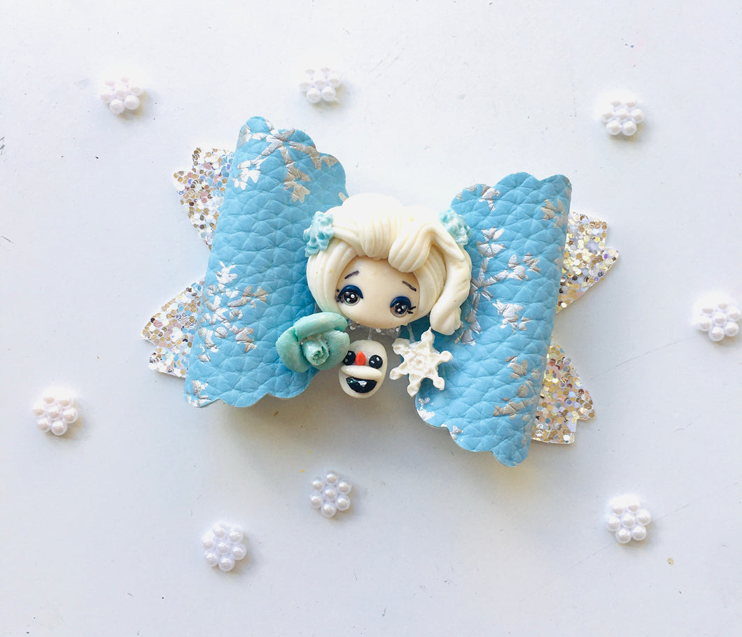 Frozen Elsa dangle Clay bow