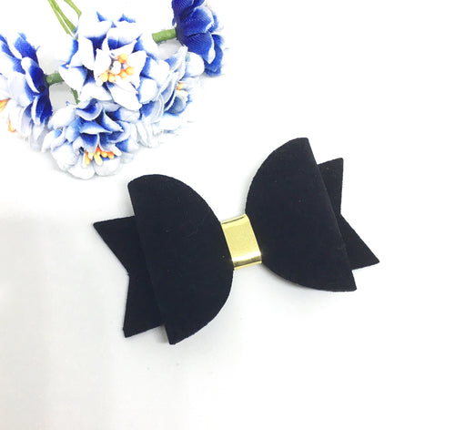 Black Faux Suede Everyday Bow