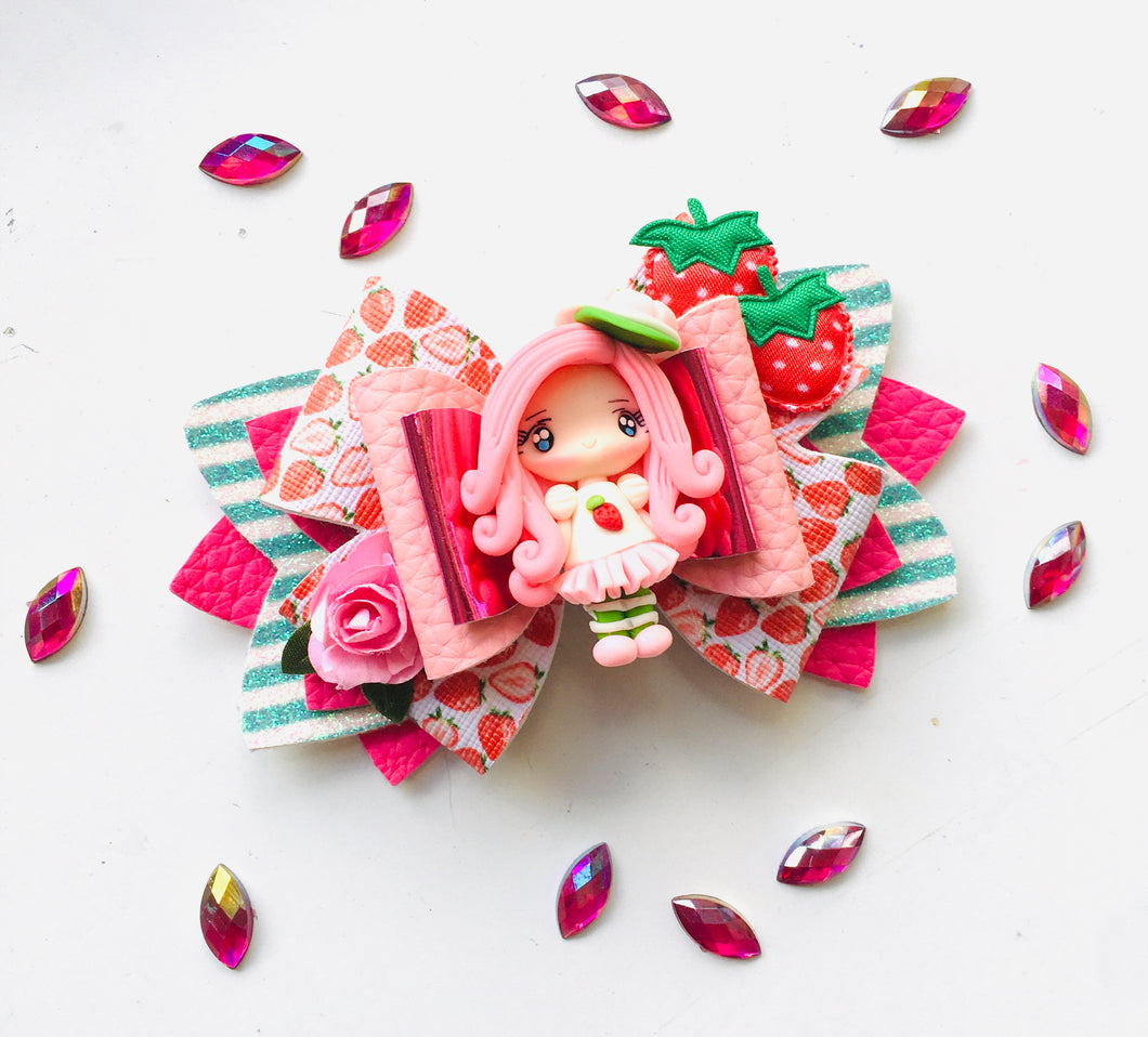 Strawberry Girl Clay large bow
