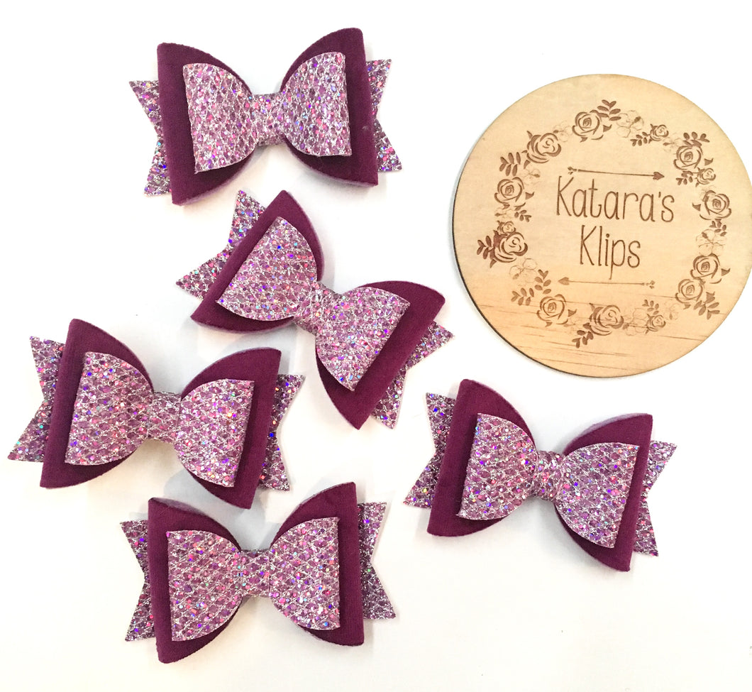 Velvet Purple Glitter Bow