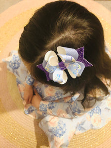 Blue Floral Posey Bow