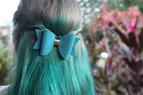 Teal Green Faux Suede Everyday Bow