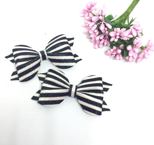 Mini Black White Glitter Pinch Bow