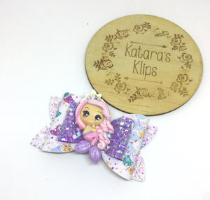 Clay Purple Mermaid Bow