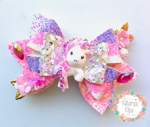 Deluxe Gem Unicorn Clay Bow