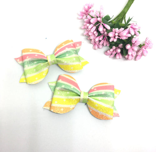 Mini Rainbow Glitter Pinch Bow