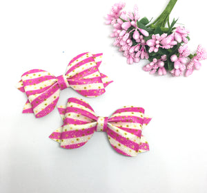 Mini Pink Glitter Pinch Bow