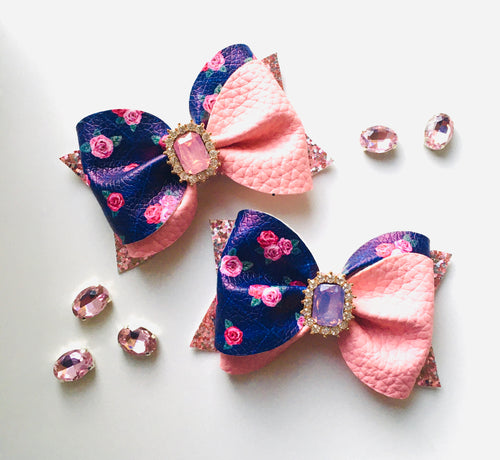 Navy Pink Floral Rhinestone Ivy Bow