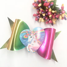 Load image into Gallery viewer, Metallic Rainbow Unicorn Fancy bow