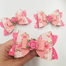 Load image into Gallery viewer, Floral Pink Double Bow
