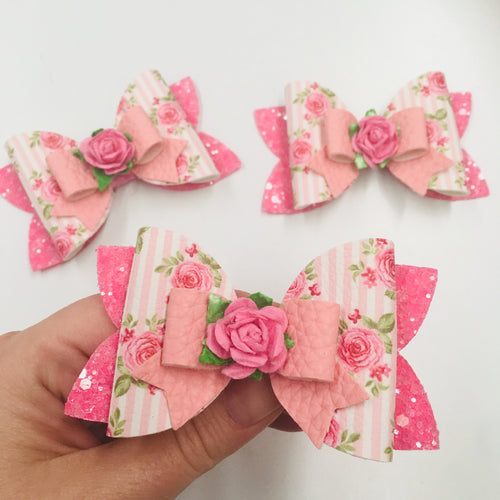 Floral Pink Double Bow