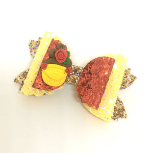 Clay Princess Belle Cupcake Bow