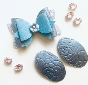 Embossed Roses Blue Bow and Snap Clip Set