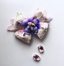 Load image into Gallery viewer, Floral Lace Fairy bow - choose colour