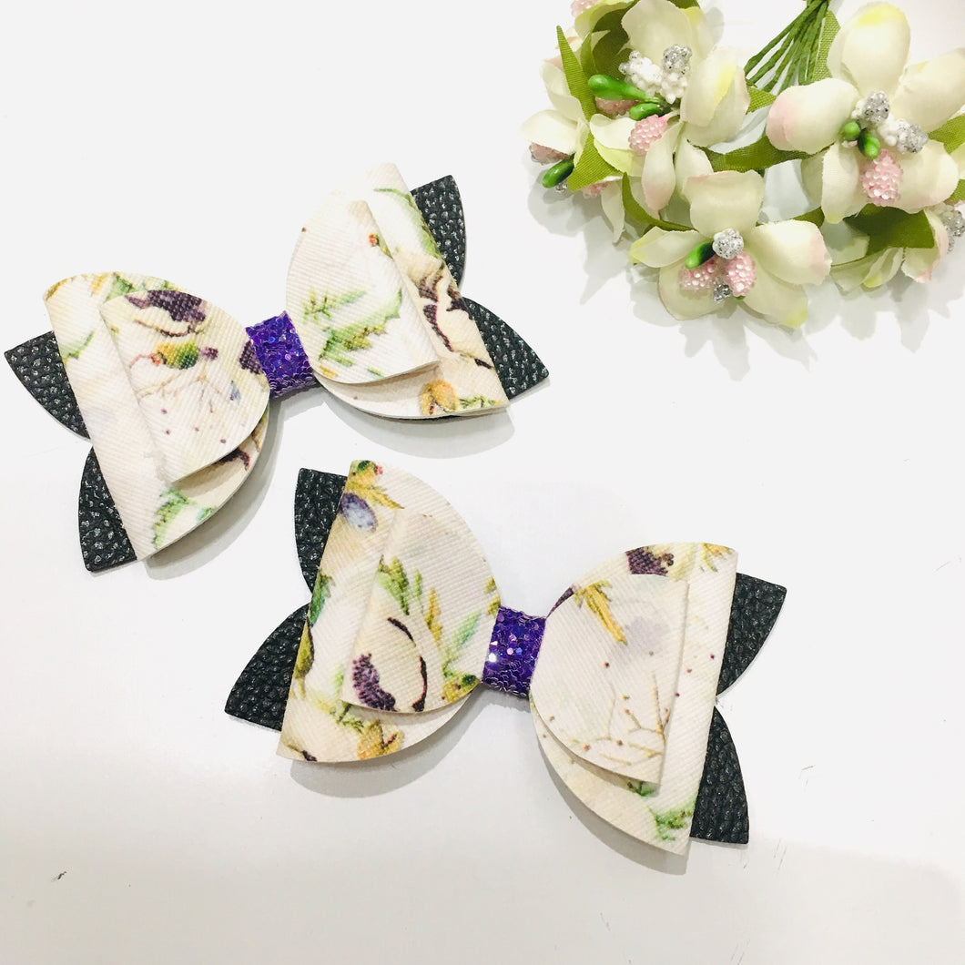 Floral Black Double Bow