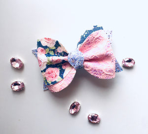 Navy Floral Lace Ivy Bow