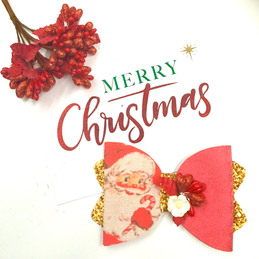 Christmas Red Glitter Santa bow