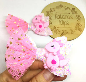 Clay Pink Dinosaur bow