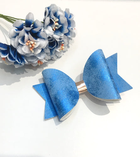 Everyday Faux Suede Shimmer Blue Bow