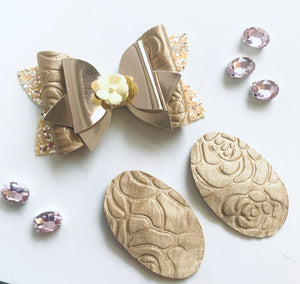 Embossed Roses Gold Bow and Snap Clip Set