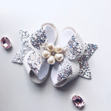 Load image into Gallery viewer, White Glitter Rhinestone Posey Bow
