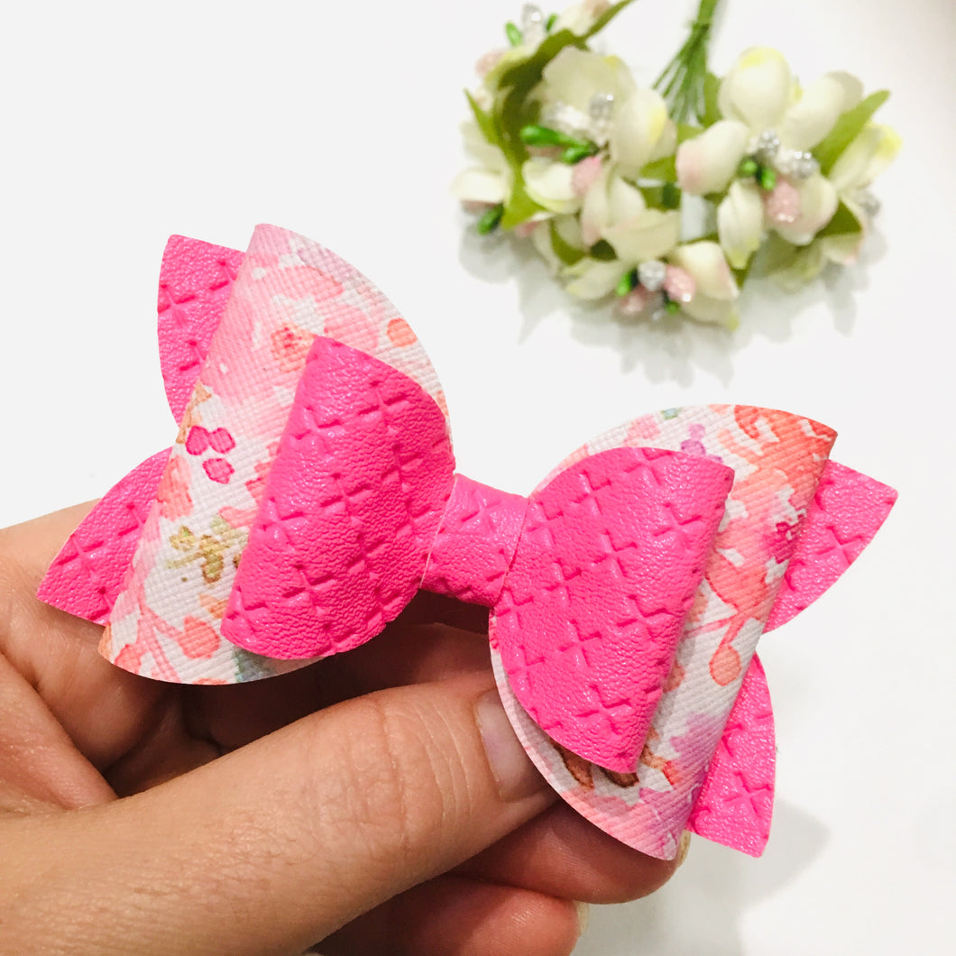 Floral Pink Leatherette Double Bow