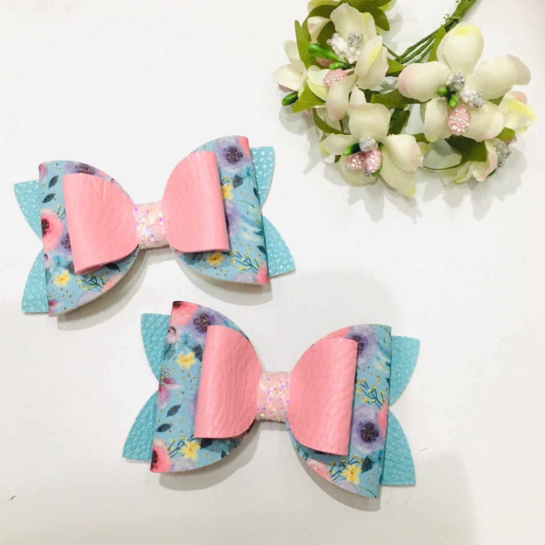 Floral Blue Double Bow