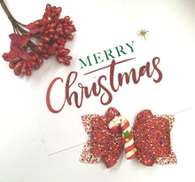 Load image into Gallery viewer, Christmas Candy Cane Clay bow