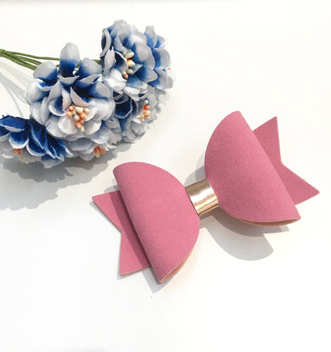 Pink Faux Suede Everyday Bow