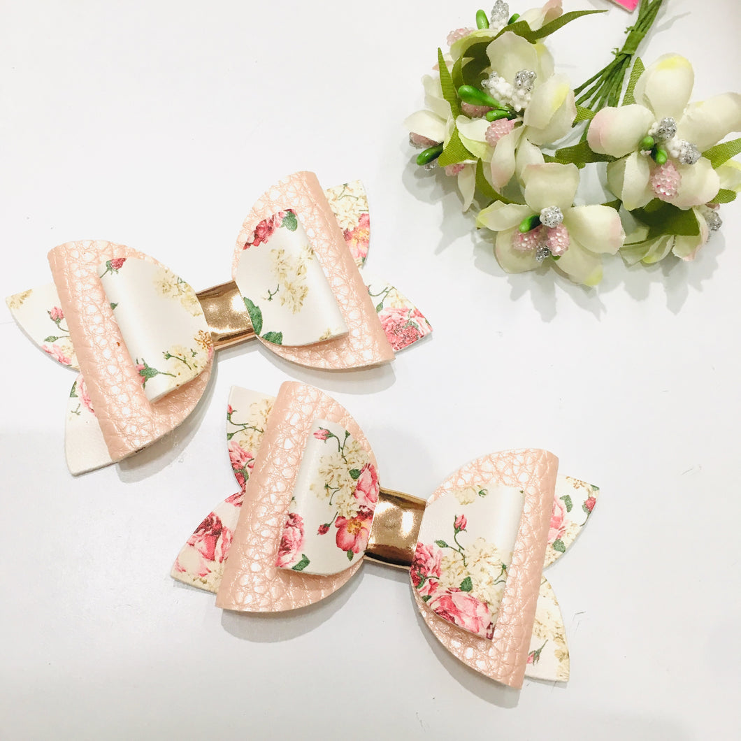 Cream Floral Faux leather bow