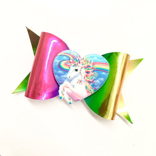 Metallic Rainbow Unicorn Fancy bow