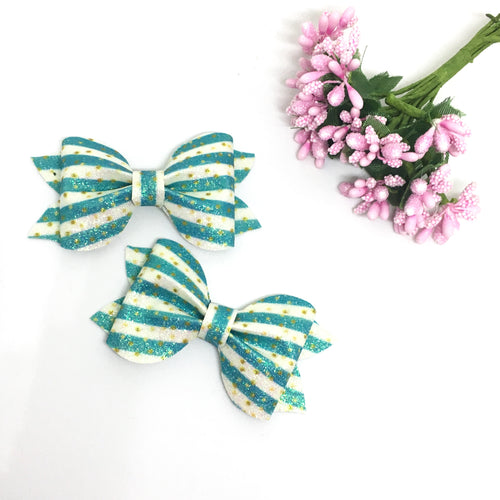 Mini Blue Glitter Pinch Bow