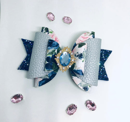 Navy Pink Floral Extra large Rhinestone bow
