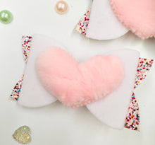 Load image into Gallery viewer, White Fluffy Heart Pink Bow